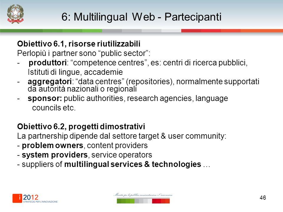 46 6: Multilingual Web - Partecipanti Obiettivo 6.1, risorse riutilizzabili Perlopiù i partner sono public sector: - produttori: competence centres, e