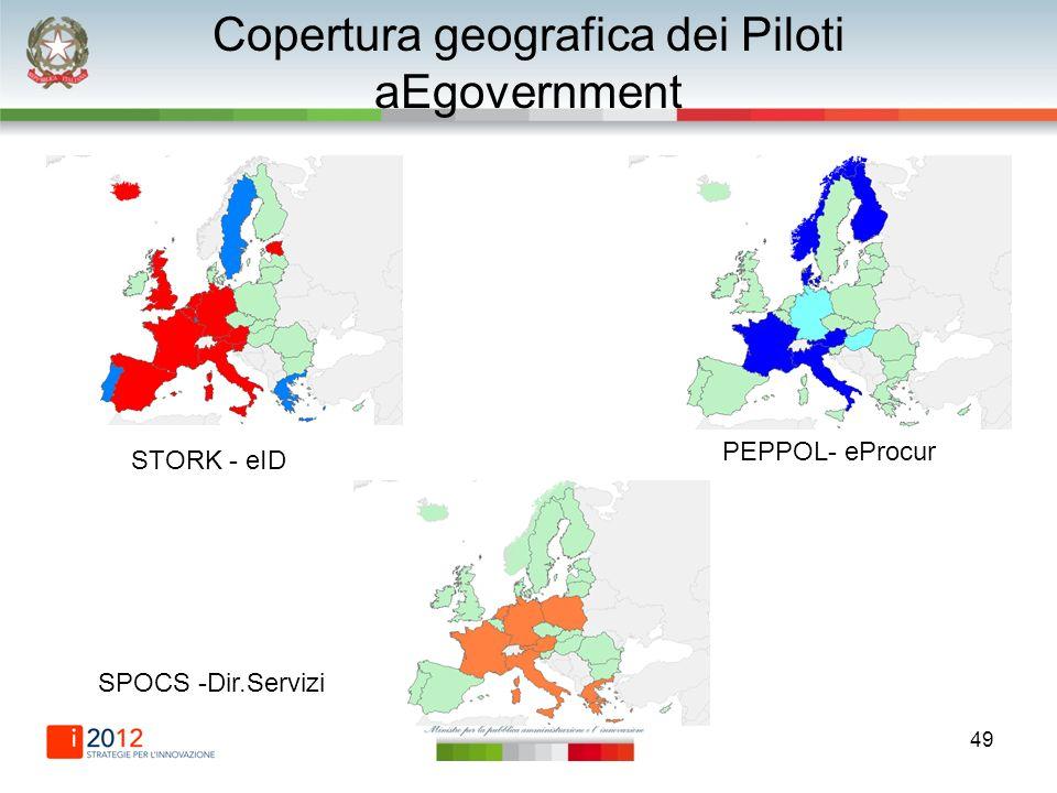 49 Copertura geografica dei Piloti aEgovernment STORK - eID PEPPOL- eProcur SPOCS -Dir.Servizi