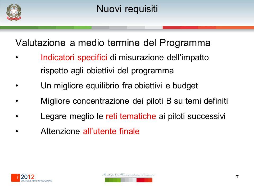 7 Nuovi requisiti Valutazione a medio termine del Programma Indicatori specifici di misurazione dellimpatto rispetto agli obiettivi del programma Un m