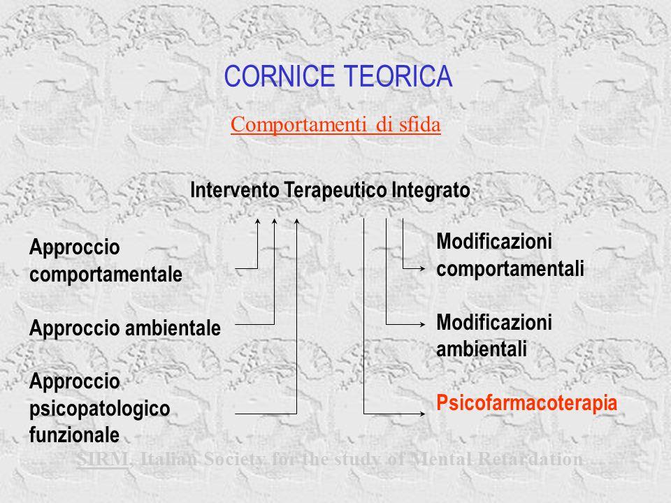 Modificazioni comportamentali Modificazioni ambientali Psicofarmacoterapia CORNICE TEORICA Comportamenti di sfida SIRM, Italian Society for the study