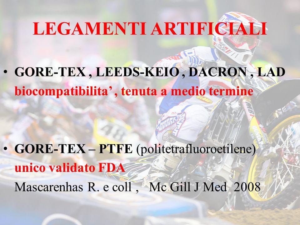 LEGAMENTI ARTIFICIALI GORE-TEX, LEEDS-KEIO, DACRON, LAD biocompatibilita, tenuta a medio termine GORE-TEX – PTFE (politetrafluoroetilene) unico validato FDA Mascarenhas R.