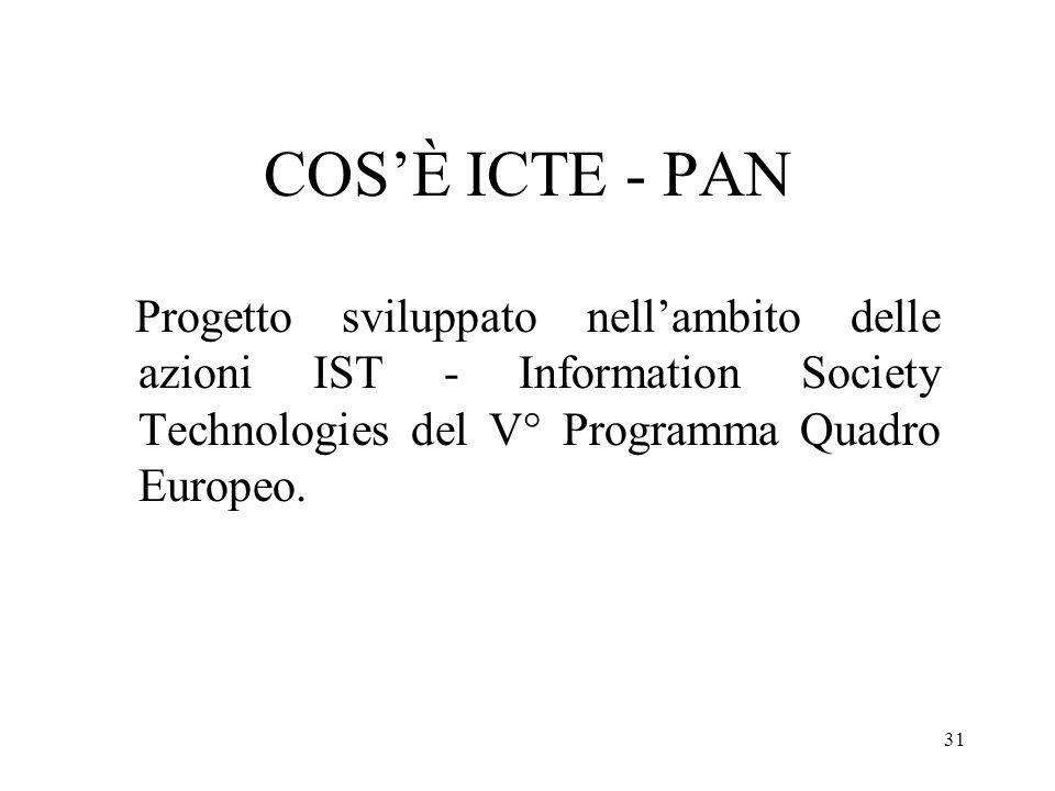 31 COSÈ ICTE - PAN Progetto sviluppato nellambito delle azioni IST - Information Society Technologies del V° Programma Quadro Europeo.