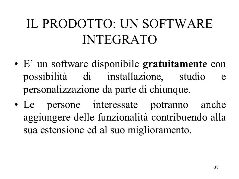 37 IL PRODOTTO: UN SOFTWARE INTEGRATO E un software disponibile gratuitamente con possibilità di installazione, studio e personalizzazione da parte di chiunque.