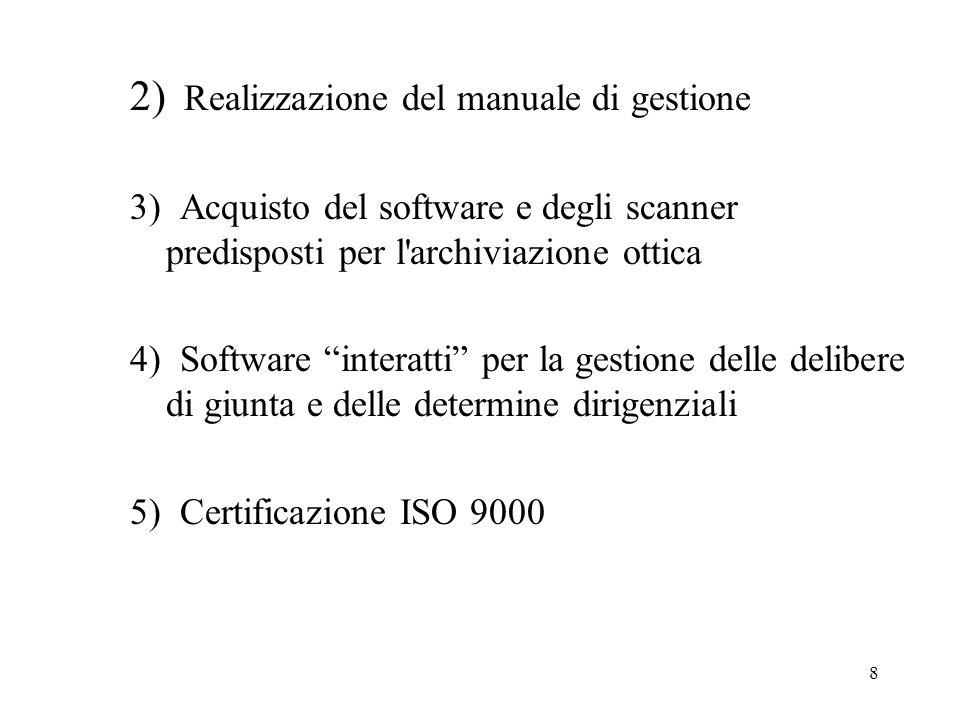 8 2) Realizzazione del manuale di gestione 3) Acquisto del software e degli scanner predisposti per l archiviazione ottica 4) Software interatti per la gestione delle delibere di giunta e delle determine dirigenziali 5) Certificazione ISO 9000
