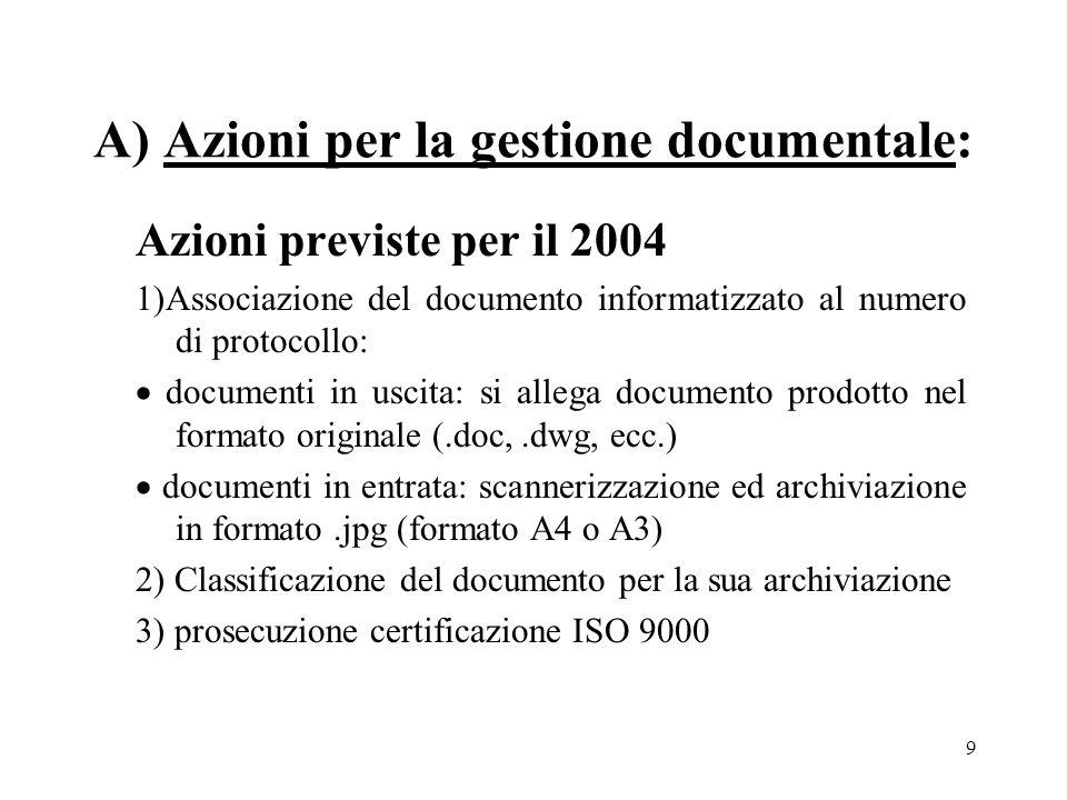 9 A) Azioni per la gestione documentale: Azioni previste per il 2004 1)Associazione del documento informatizzato al numero di protocollo: documenti in uscita: si allega documento prodotto nel formato originale (.doc,.dwg, ecc.) documenti in entrata: scannerizzazione ed archiviazione in formato.jpg (formato A4 o A3) 2) Classificazione del documento per la sua archiviazione 3) prosecuzione certificazione ISO 9000