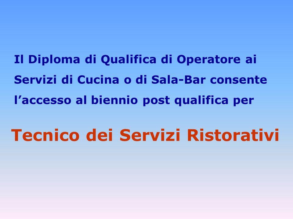 Il Diploma di Qualifica di Operatore ai Servizi di Cucina o di Sala-Bar consente laccesso al biennio post qualifica per Tecnico dei Servizi Ristorativi