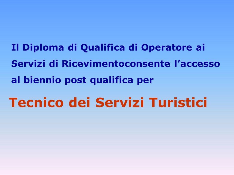 Il Diploma di Qualifica di Operatore ai Servizi di Ricevimentoconsente laccesso al biennio post qualifica per Tecnico dei Servizi Turistici