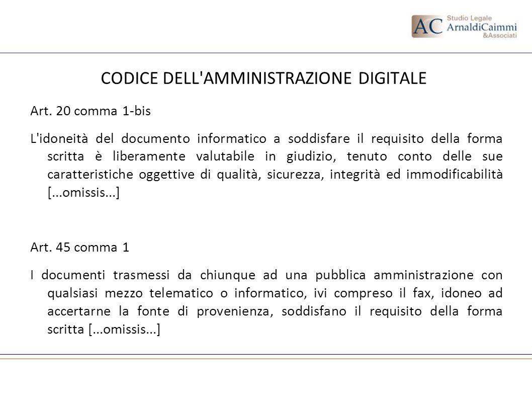 CODICE DELL'AMMINISTRAZIONE DIGITALE Art. 20 comma 1-bis L'idoneità del documento informatico a soddisfare il requisito della forma scritta è liberame