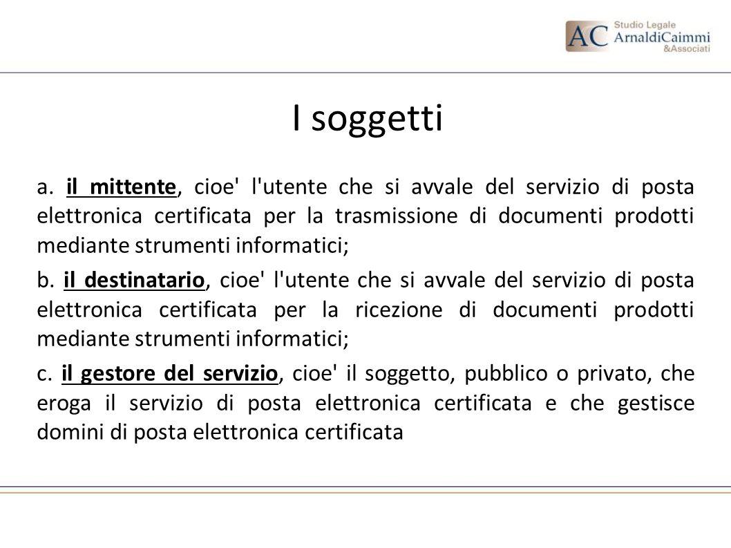 I soggetti a. il mittente, cioe' l'utente che si avvale del servizio di posta elettronica certificata per la trasmissione di documenti prodotti median