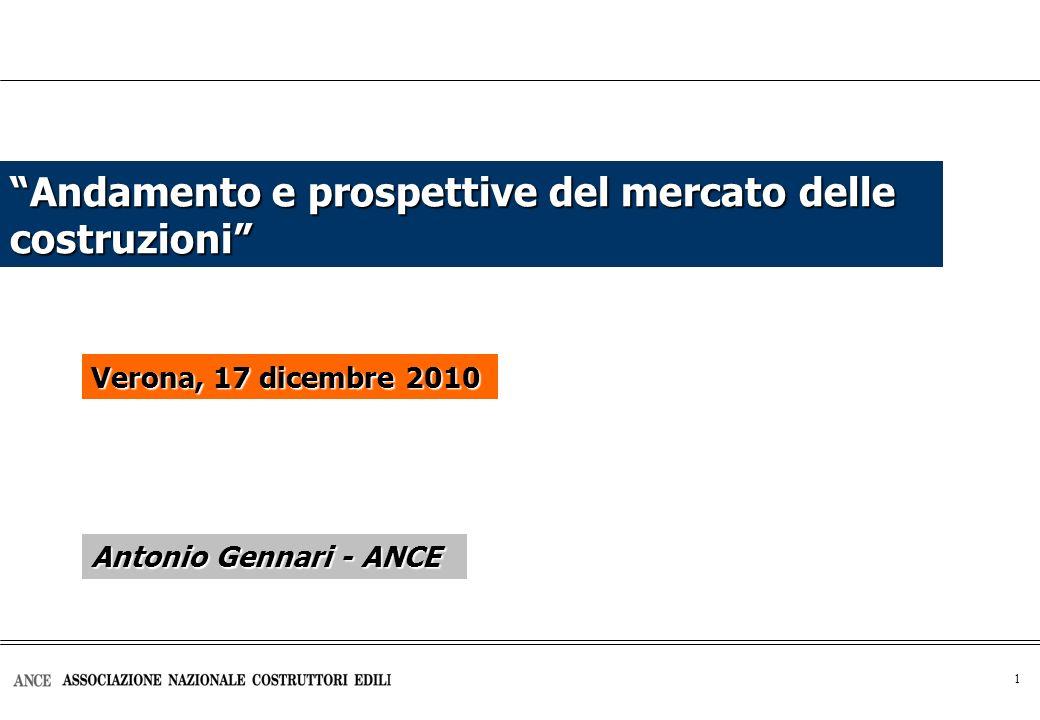 1 Andamento e prospettive del mercato delle costruzioni Verona, 17 dicembre 2010 Antonio Gennari - ANCE