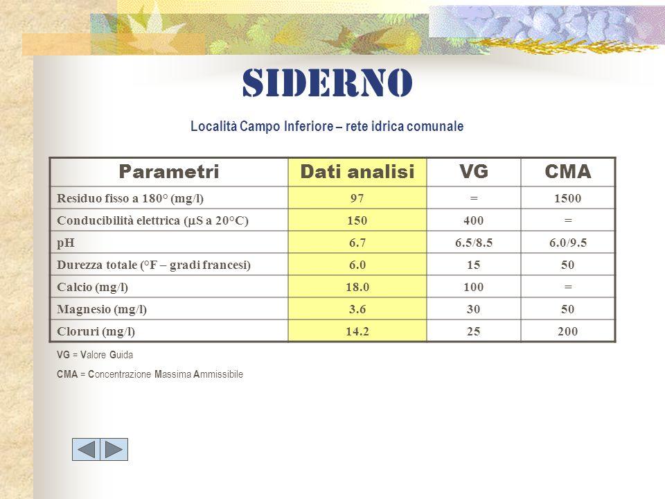 Siderno Località Campo Inferiore – rete idrica comunale ParametriDati analisiVGCMA Residuo fisso a 180° (mg/l)97=1500 Conducibilità elettrica ( S a 20