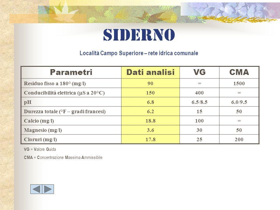 Siderno Località Campo Superiore – rete idrica comunale ParametriDati analisiVGCMA Residuo fisso a 180° (mg/l)90=1500 Conducibilità elettrica ( S a 20