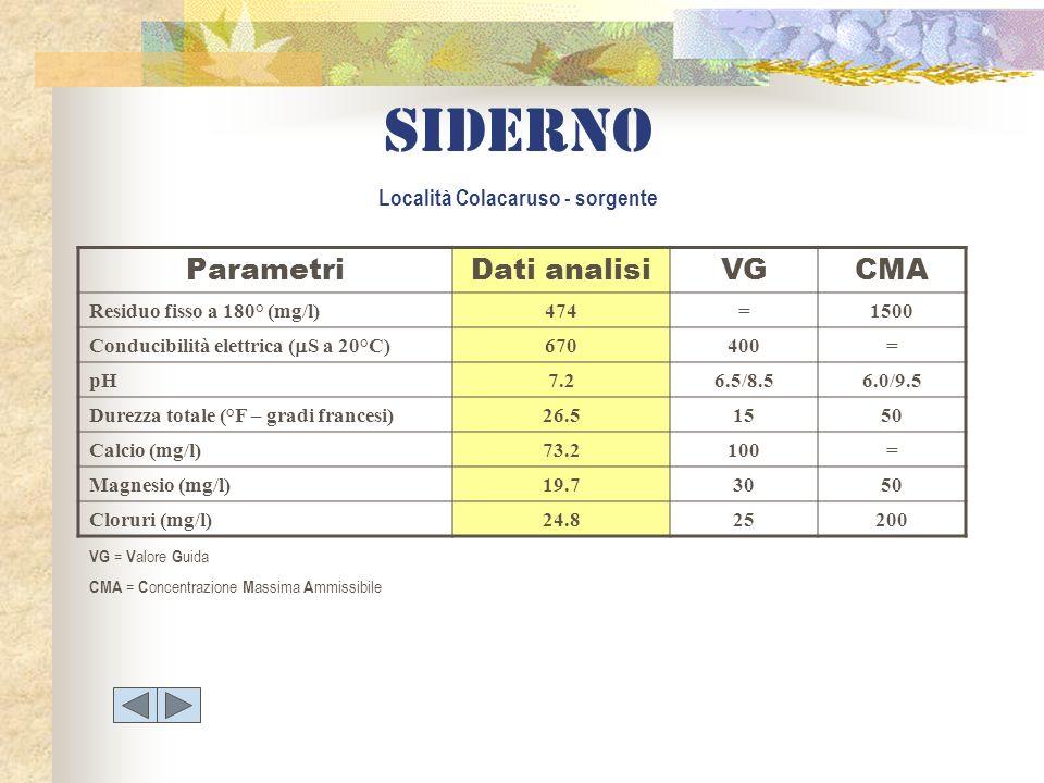 Siderno Località Colacaruso - sorgente ParametriDati analisiVGCMA Residuo fisso a 180° (mg/l)474=1500 Conducibilità elettrica ( S a 20°C) 670400= pH7.