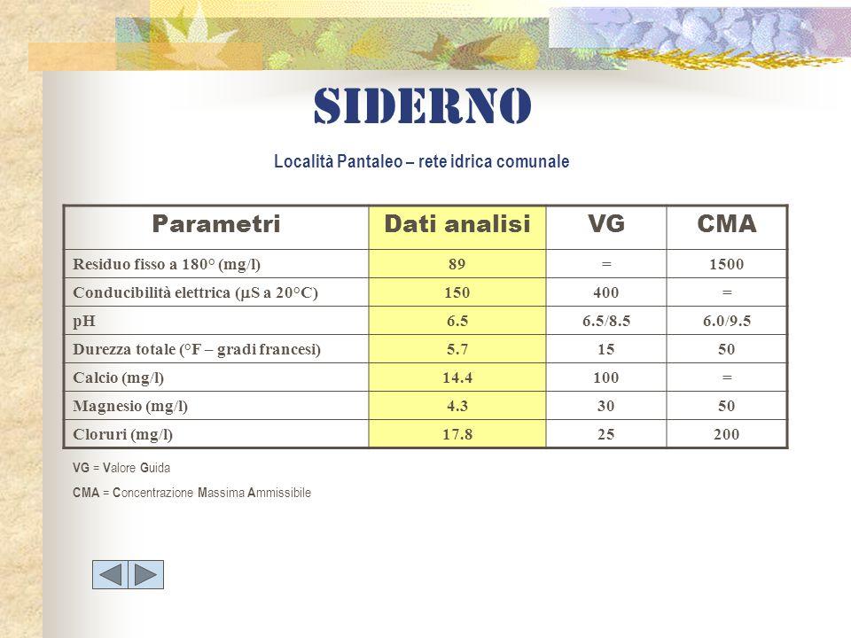 Siderno Località Pantaleo – rete idrica comunale ParametriDati analisiVGCMA Residuo fisso a 180° (mg/l)89=1500 Conducibilità elettrica ( S a 20°C) 150