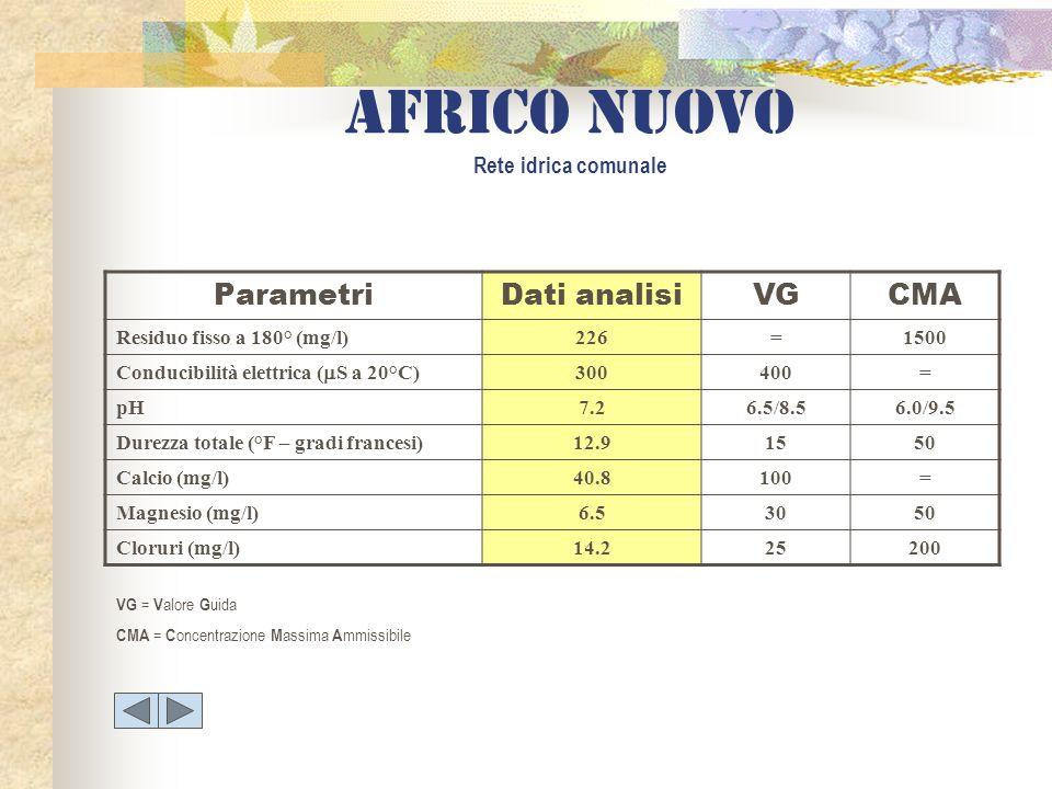Africo nuovo Rete idrica comunale ParametriDati analisiVGCMA Residuo fisso a 180° (mg/l)226=1500 Conducibilità elettrica ( S a 20°C) 300400= pH7.26.5/