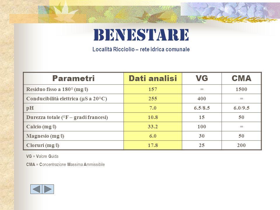Benestare Località Ricciolìo – rete idrica comunale ParametriDati analisiVGCMA Residuo fisso a 180° (mg/l)157=1500 Conducibilità elettrica ( S a 20°C)