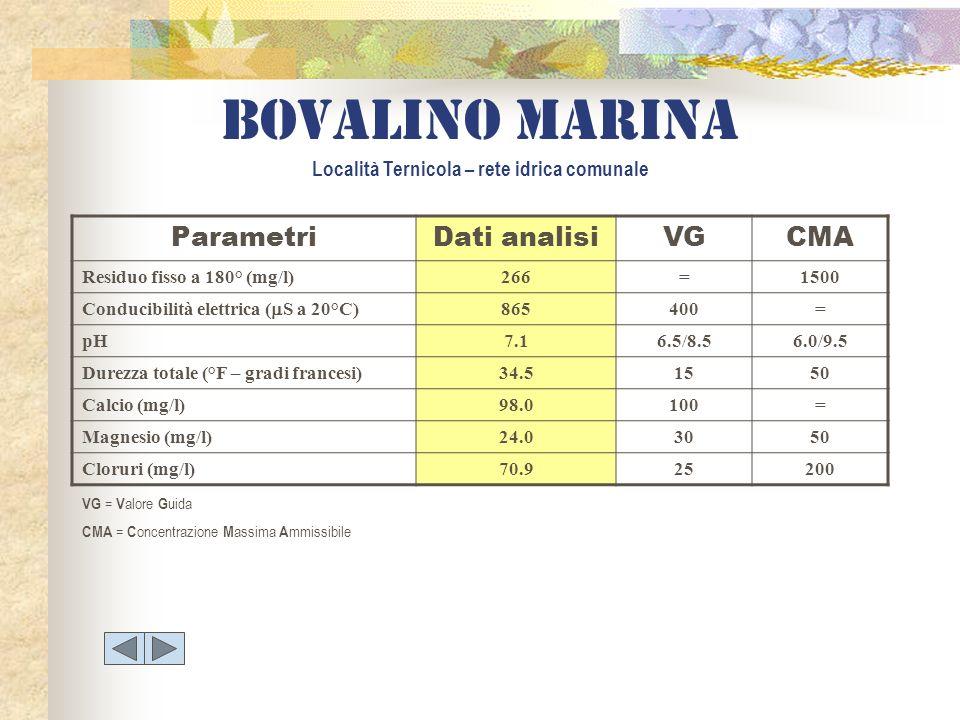 Bovalino marina Località Ternicola – rete idrica comunale ParametriDati analisiVGCMA Residuo fisso a 180° (mg/l)266=1500 Conducibilità elettrica ( S a