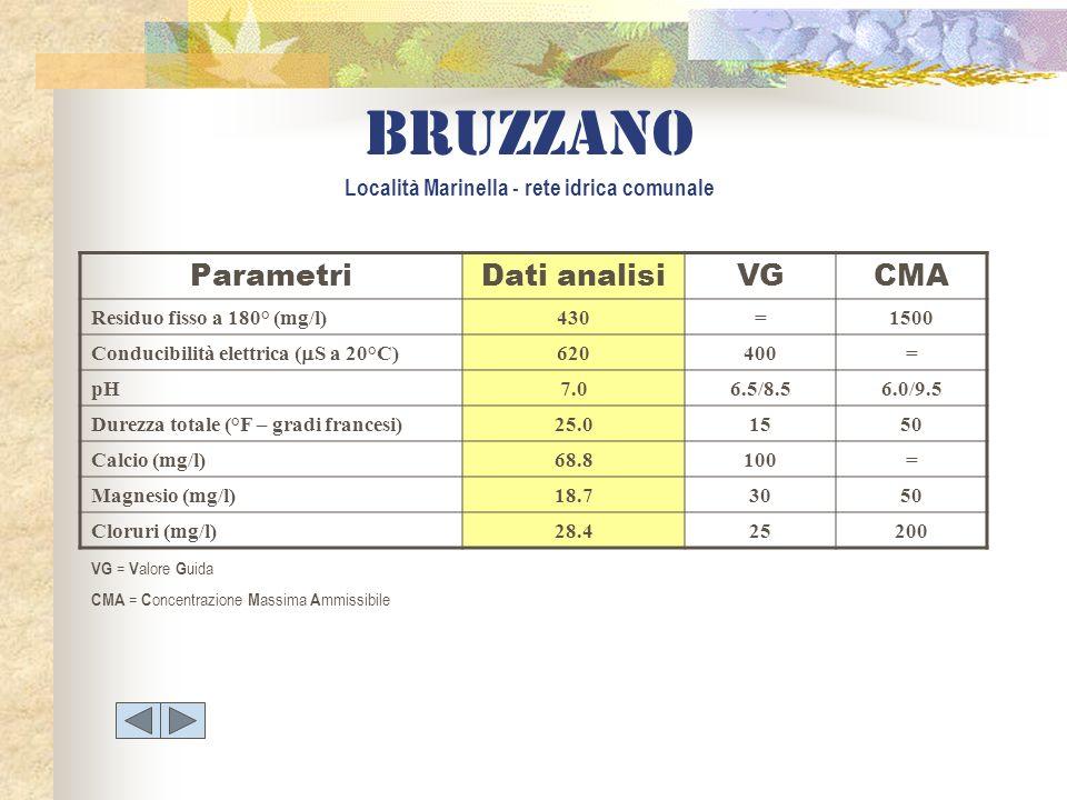 ParametriDati analisiVGCMA Residuo fisso a 180° (mg/l)430=1500 Conducibilità elettrica ( S a 20°C) 620400= pH7.06.5/8.56.0/9.5 Durezza totale (°F – gr