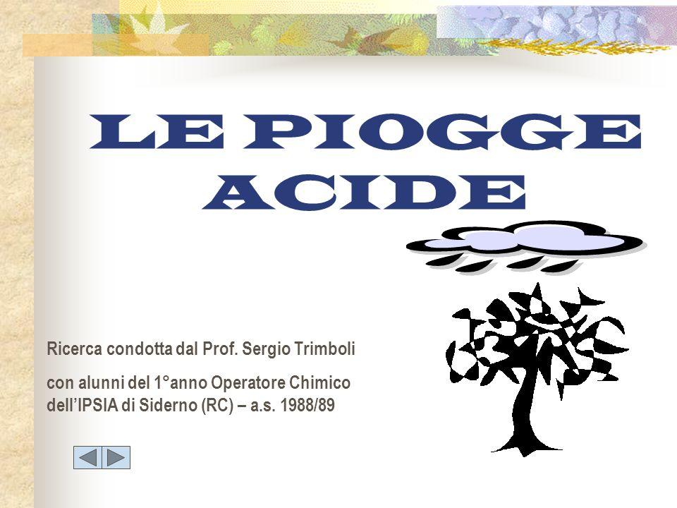 LE PIOGGE ACIDE Ricerca condotta dal Prof. Sergio Trimboli con alunni del 1°anno Operatore Chimico dellIPSIA di Siderno (RC) – a.s. 1988/89
