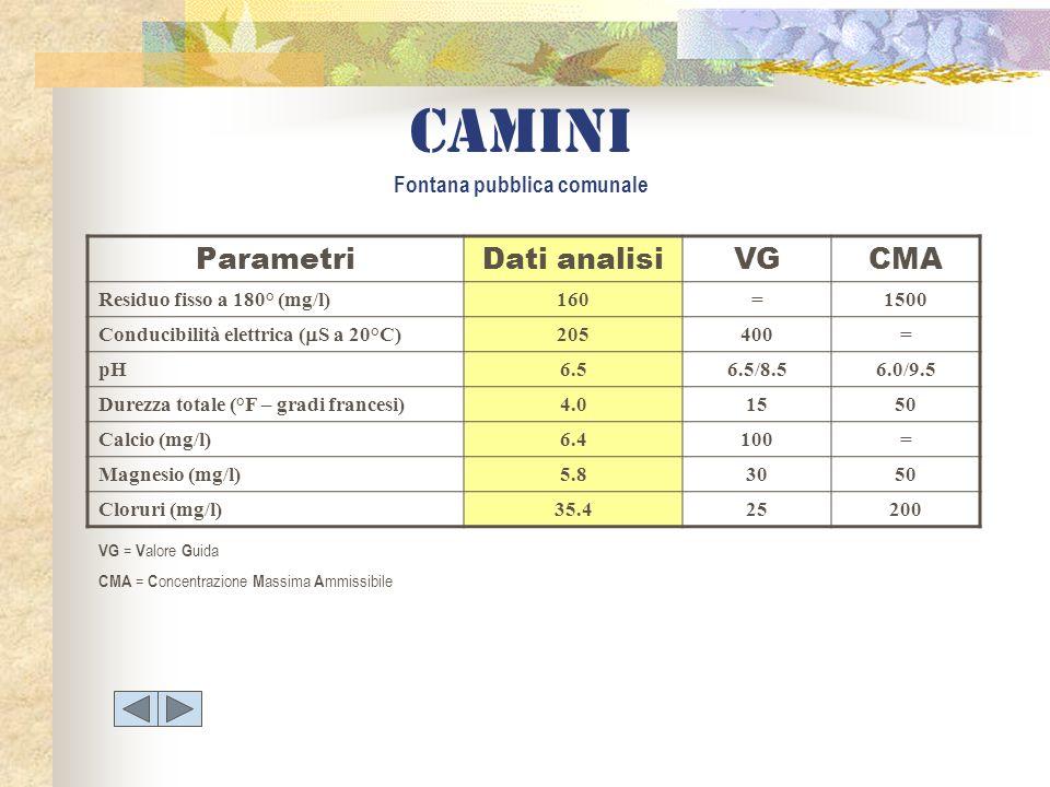 ParametriDati analisiVGCMA Residuo fisso a 180° (mg/l)160=1500 Conducibilità elettrica ( S a 20°C) 205400= pH6.56.5/8.56.0/9.5 Durezza totale (°F – gr