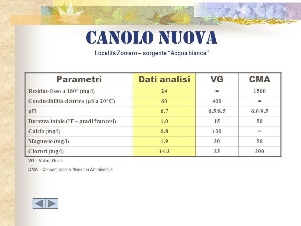 ParametriDati analisiVGCMA Residuo fisso a 180° (mg/l)24=1500 Conducibilità elettrica ( S a 20°C) 60400= pH6.76.5/8.56.0/9.5 Durezza totale (°F – grad