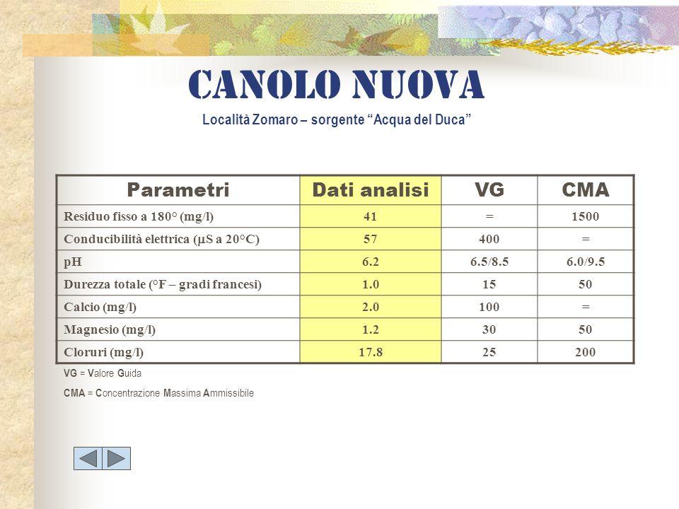 ParametriDati analisiVGCMA Residuo fisso a 180° (mg/l)41=1500 Conducibilità elettrica ( S a 20°C) 57400= pH6.26.5/8.56.0/9.5 Durezza totale (°F – grad