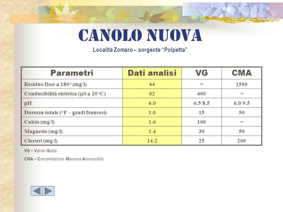 Canolo nuova Località Zomaro – sorgente Polpetta ParametriDati analisiVGCMA Residuo fisso a 180° (mg/l)44=1500 Conducibilità elettrica ( S a 20°C) 624