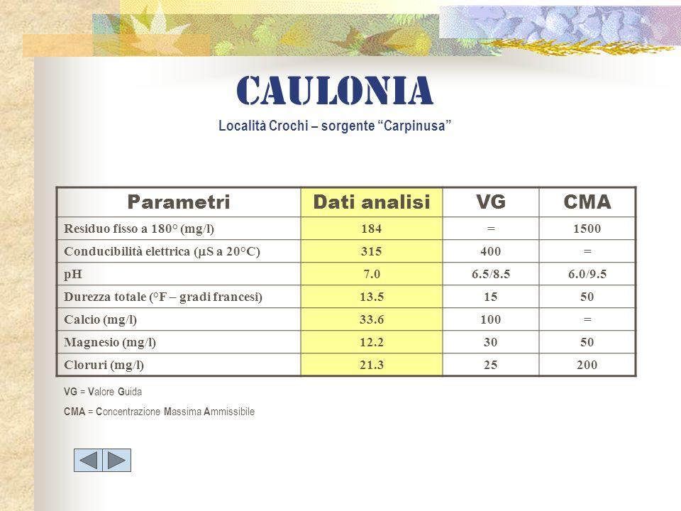 ParametriDati analisiVGCMA Residuo fisso a 180° (mg/l)184=1500 Conducibilità elettrica ( S a 20°C) 315400= pH7.06.5/8.56.0/9.5 Durezza totale (°F – gr