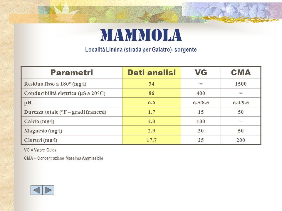 mammola Località Limina (strada per Galatro)- sorgente ParametriDati analisiVGCMA Residuo fisso a 180° (mg/l)34=1500 Conducibilità elettrica ( S a 20°