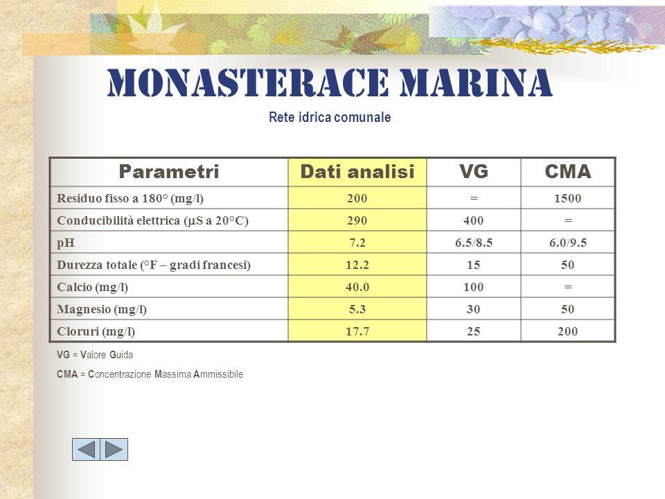 Monasterace marina Rete idrica comunale ParametriDati analisiVGCMA Residuo fisso a 180° (mg/l)200=1500 Conducibilità elettrica ( S a 20°C) 290400= pH7