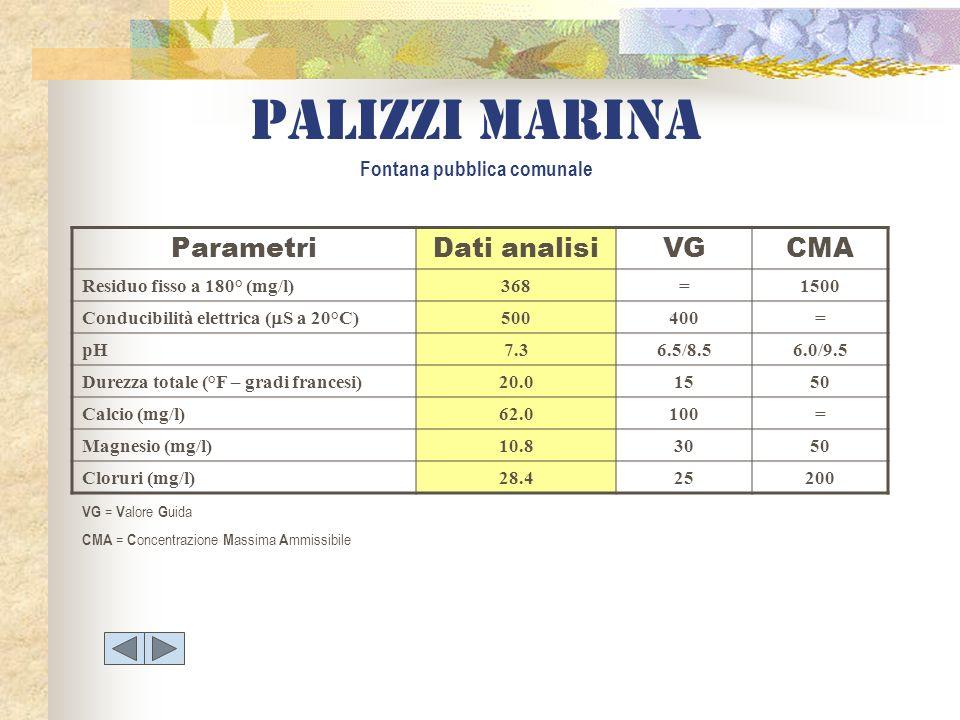Palizzi marina Fontana pubblica comunale ParametriDati analisiVGCMA Residuo fisso a 180° (mg/l)368=1500 Conducibilità elettrica ( S a 20°C) 500400= pH
