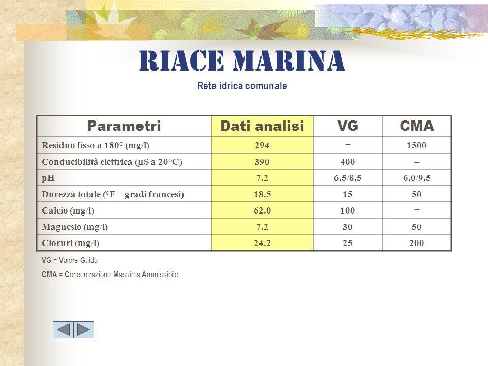 Riace marina Rete idrica comunale ParametriDati analisiVGCMA Residuo fisso a 180° (mg/l)294=1500 Conducibilità elettrica ( S a 20°C) 390400= pH7.26.5/