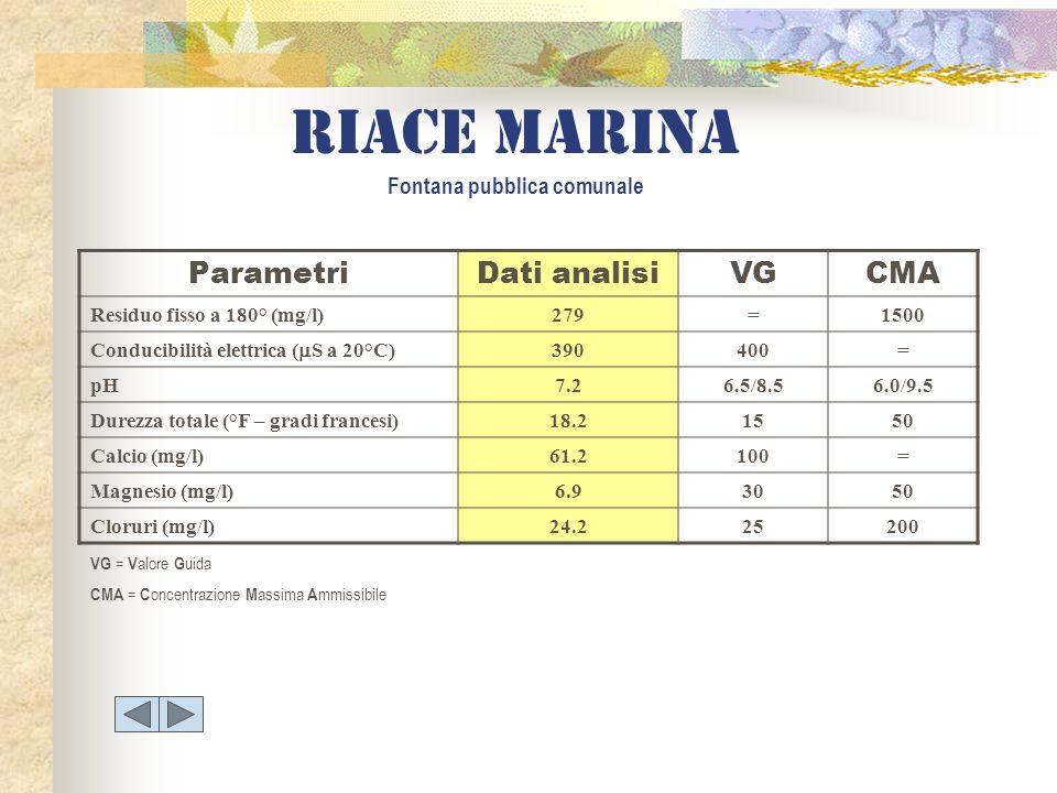 Riace marina Fontana pubblica comunale ParametriDati analisiVGCMA Residuo fisso a 180° (mg/l)279=1500 Conducibilità elettrica ( S a 20°C) 390400= pH7.