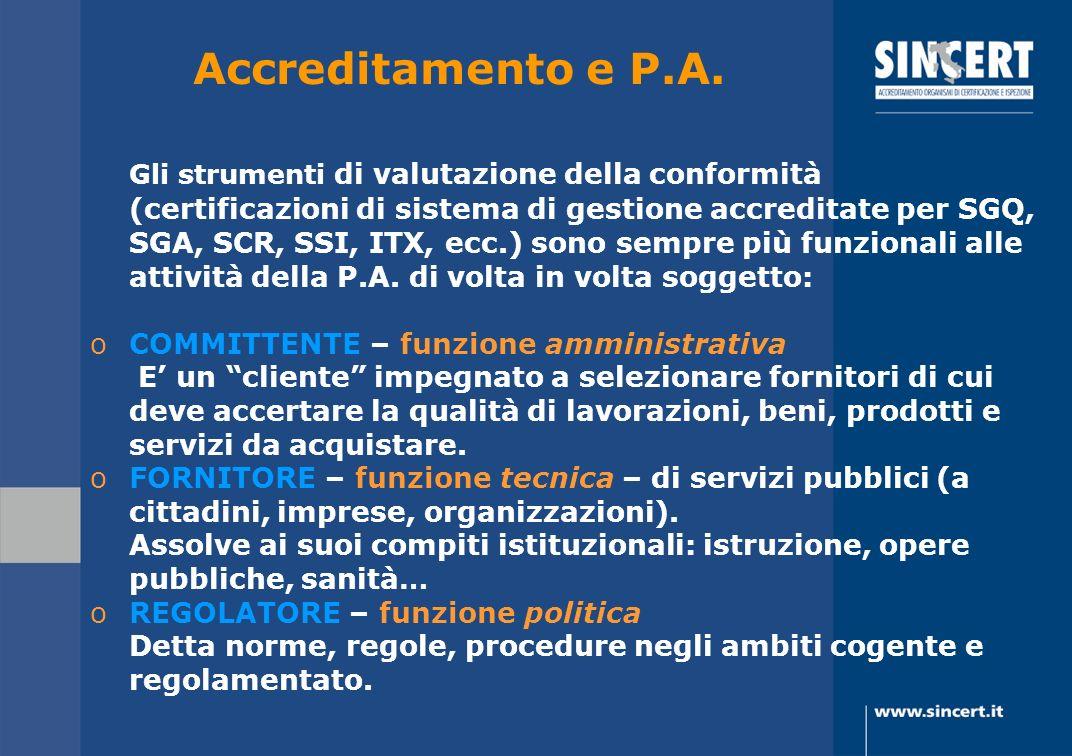 Accreditamento e P.A. Gli strumenti di valutazione della conformità (certificazioni di sistema di gestione accreditate per SGQ, SGA, SCR, SSI, ITX, ec