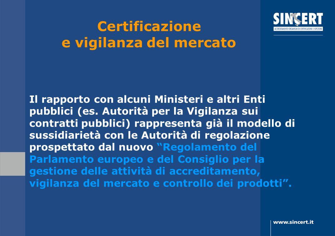 Certificazione e vigilanza del mercato Il rapporto con alcuni Ministeri e altri Enti pubblici (es. Autorità per la Vigilanza sui contratti pubblici) r