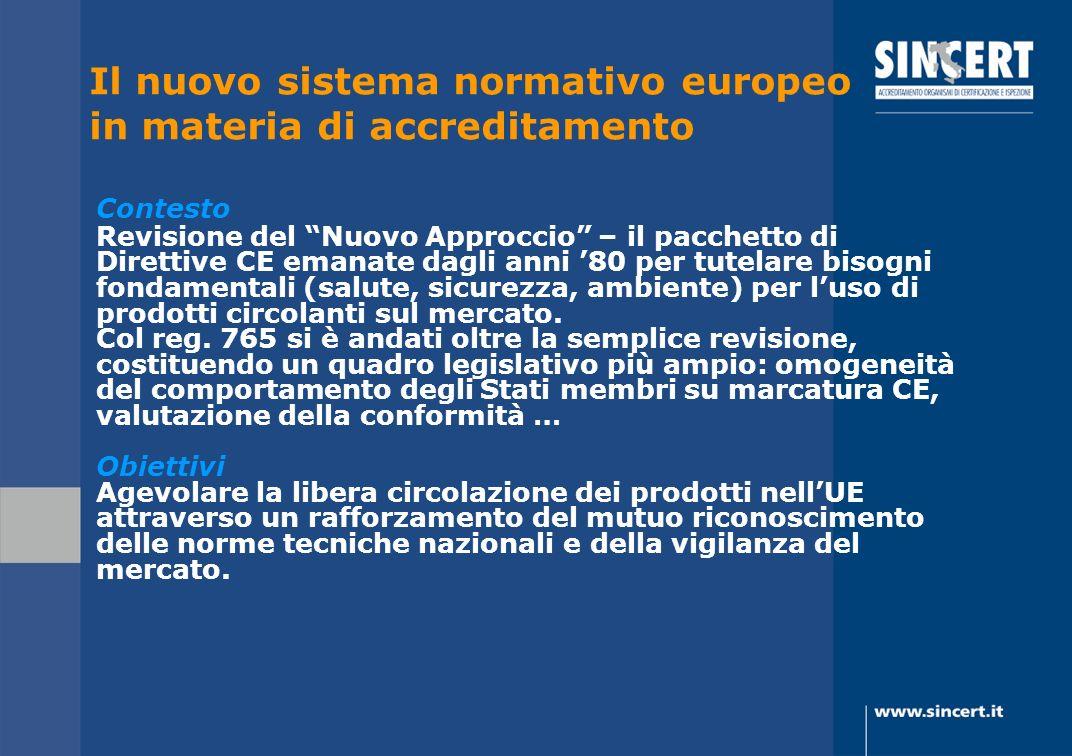 Il nuovo sistema normativo europeo in materia di accreditamento Contesto Revisione del Nuovo Approccio – il pacchetto di Direttive CE emanate dagli an