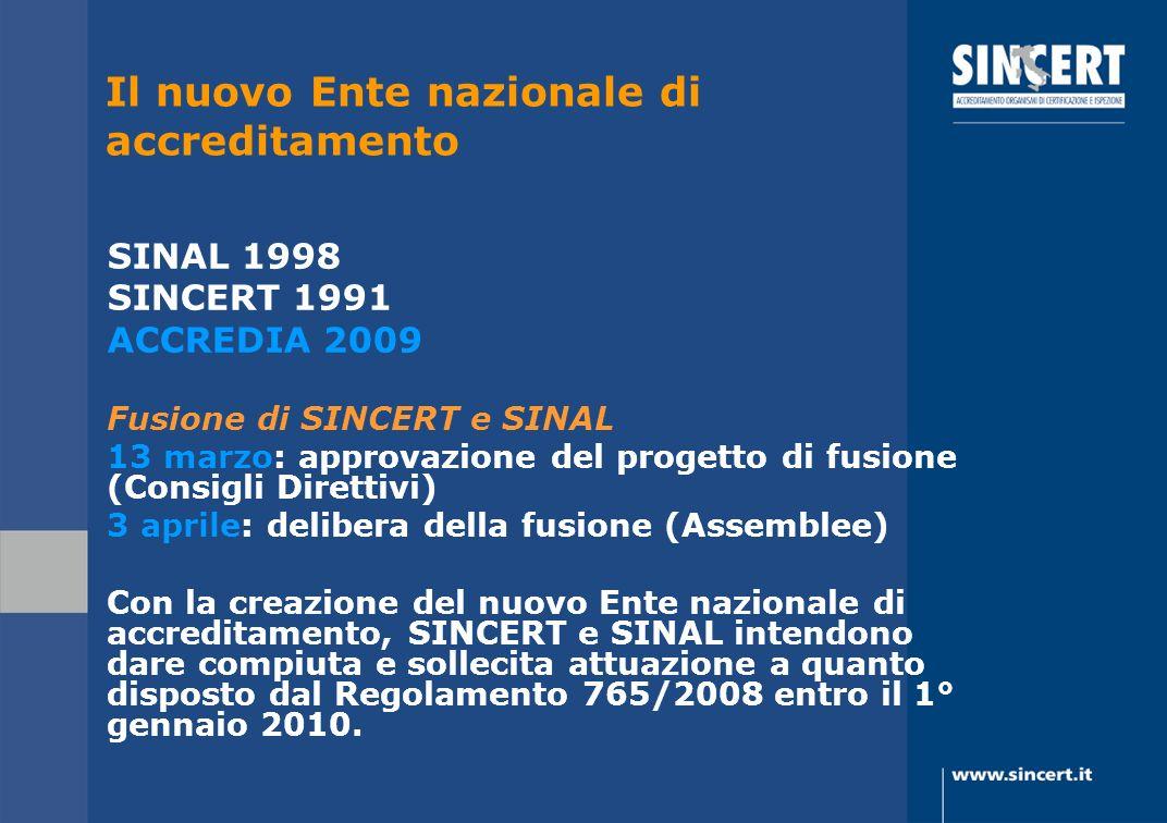 SINAL 1998 SINCERT 1991 ACCREDIA 2009 Fusione di SINCERT e SINAL 13 marzo: approvazione del progetto di fusione (Consigli Direttivi) 3 aprile: deliber
