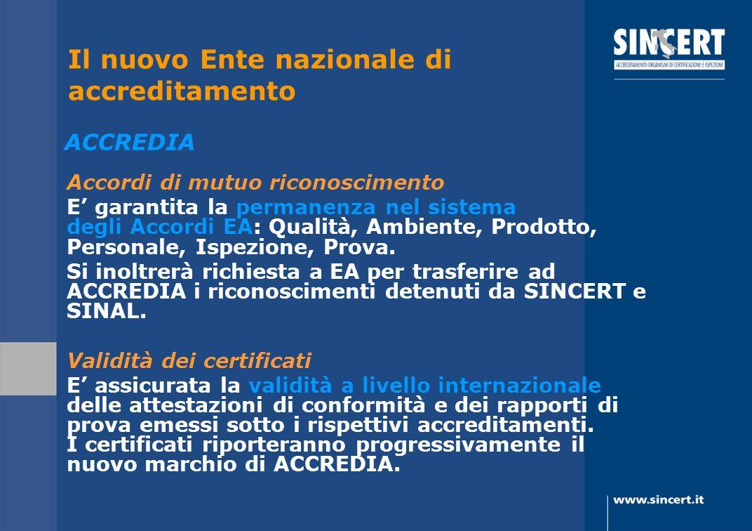 Accordi di mutuo riconoscimento E garantita la permanenza nel sistema degli Accordi EA: Qualità, Ambiente, Prodotto, Personale, Ispezione, Prova. Si i