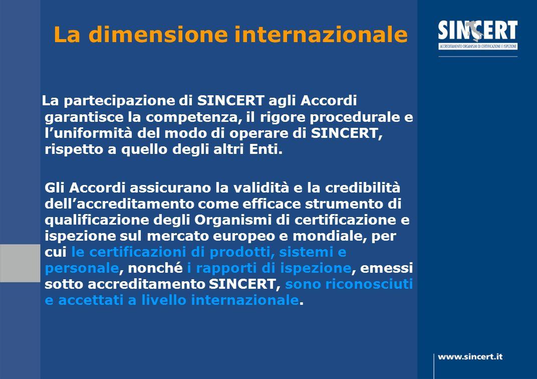 La dimensione internazionale La partecipazione di SINCERT agli Accordi garantisce la competenza, il rigore procedurale e luniformità del modo di opera