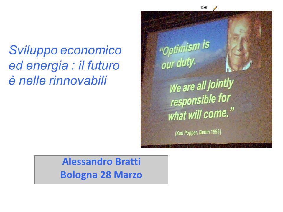 Alessandro Bratti Bologna 28 Marzo Sviluppo economico ed energia : il futuro è nelle rinnovabili