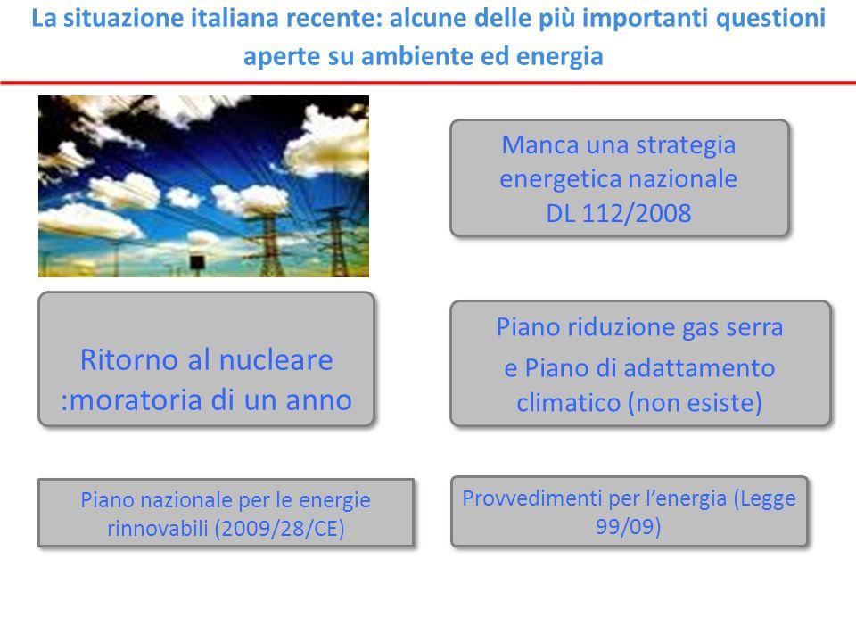 Manca una strategia energetica nazionale DL 112/2008 Manca una strategia energetica nazionale DL 112/2008 Piano riduzione gas serra e Piano di adattam