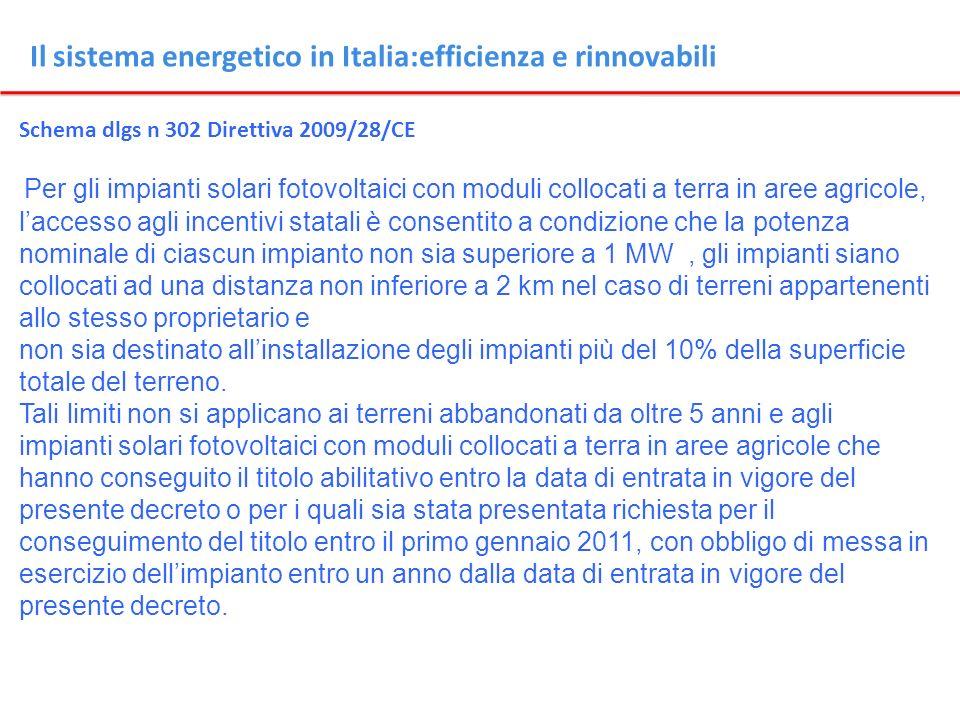 Il sistema energetico in Italia:efficienza e rinnovabili Schema dlgs n 302 Direttiva 2009/28/CE Per gli impianti solari fotovoltaici con moduli colloc