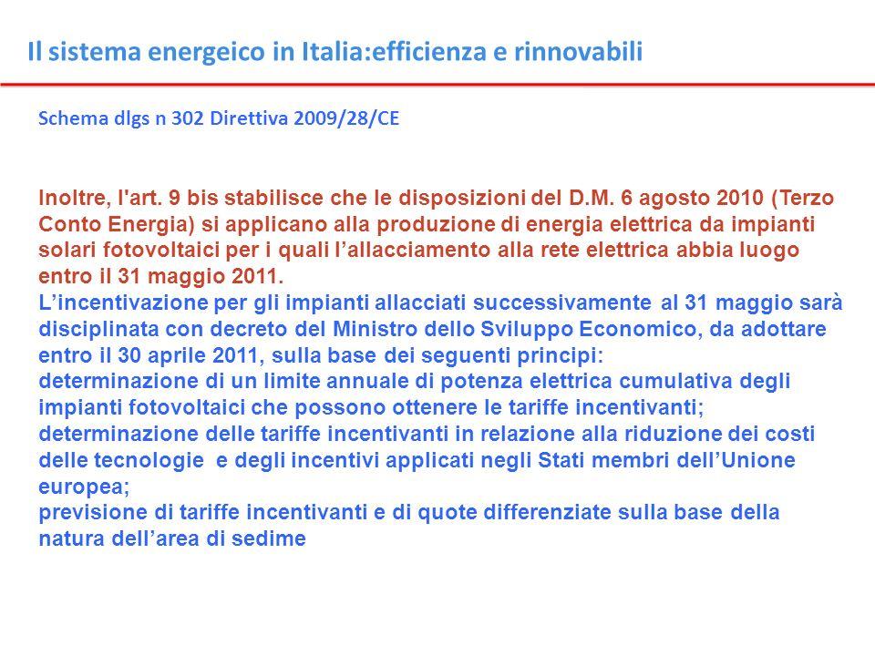 Il sistema energeico in Italia:efficienza e rinnovabili Schema dlgs n 302 Direttiva 2009/28/CE Inoltre, l'art. 9 bis stabilisce che le disposizioni de
