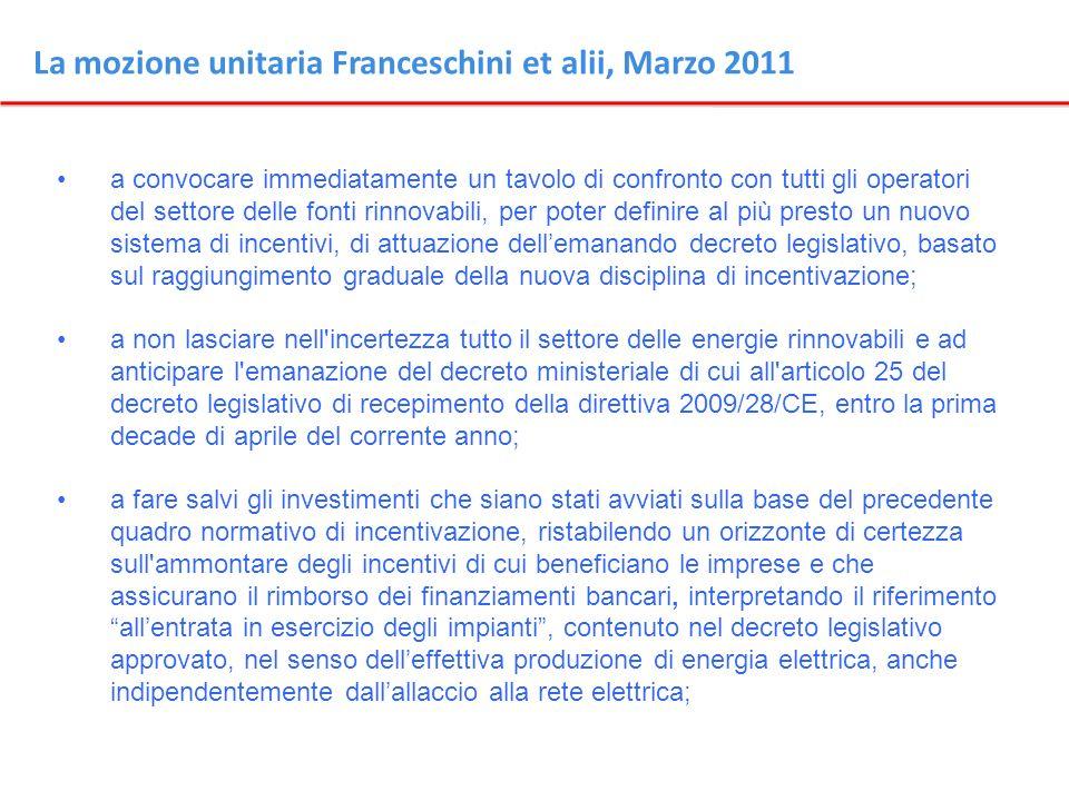 La mozione unitaria Franceschini et alii, Marzo 2011 a convocare immediatamente un tavolo di confronto con tutti gli operatori del settore delle fonti