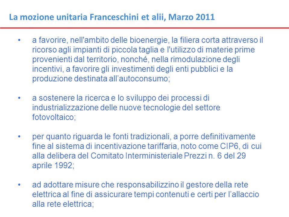 La mozione unitaria Franceschini et alii, Marzo 2011 a favorire, nell'ambito delle bioenergie, la filiera corta attraverso il ricorso agli impianti di
