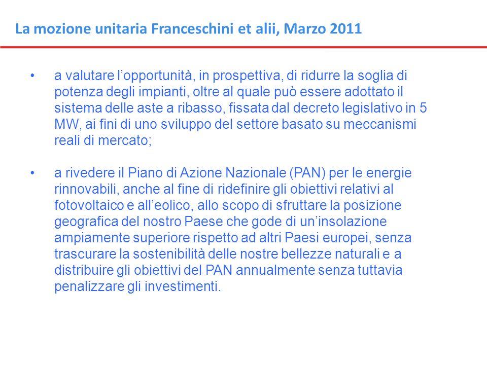 La mozione unitaria Franceschini et alii, Marzo 2011 a valutare lopportunità, in prospettiva, di ridurre la soglia di potenza degli impianti, oltre al