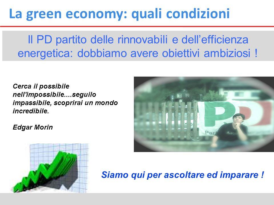 La green economy: quali condizioni Il PD partito delle rinnovabili e dellefficienza energetica: dobbiamo avere obiettivi ambiziosi ! Cerca il possibil