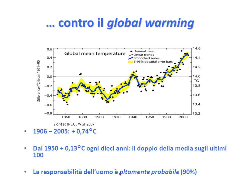4 … contro il global warming 1906 – 2005: + 0,74°C Dal 1950 + 0,13°C ogni dieci anni: il doppio della media sugli ultimi 100 La responsabilità delluom