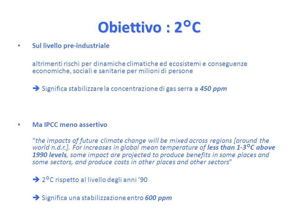 Obiettivo : 2°C Sul livello pre-industriale altrimenti rischi per dinamiche climatiche ed ecosistemi e conseguenze economiche, sociali e sanitarie per