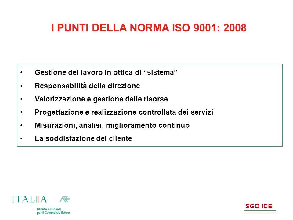 SGQ ICE I PUNTI DELLA NORMA ISO 9001: 2008 Gestione del lavoro in ottica di sistema Responsabilità della direzione Valorizzazione e gestione delle ris